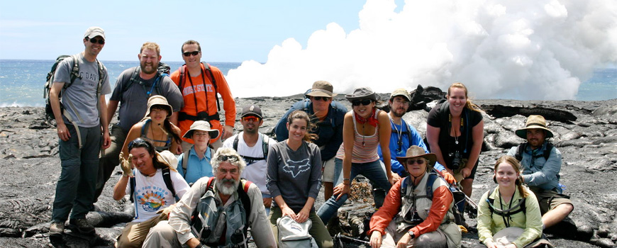 Students and instructors at a lava field in Hawaii