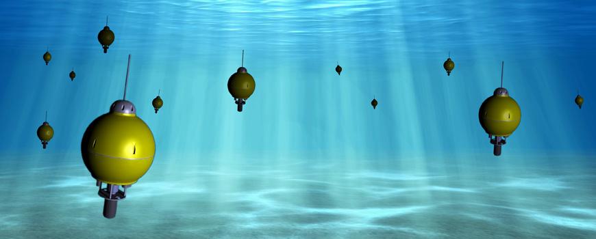 A rendering of autonomous underwater explorers (AUEs) developed at Scripps.