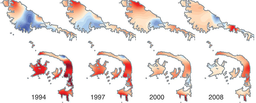 Evolution of the rate of thickness change in the Antarctic Peninsula.