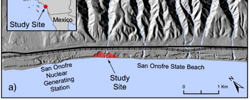 Southern California shaded relief map with the study site