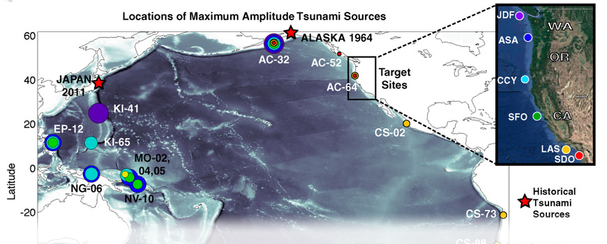Unit source locations generating the largest amplitude waves at target sites on the U.S. West Coast.