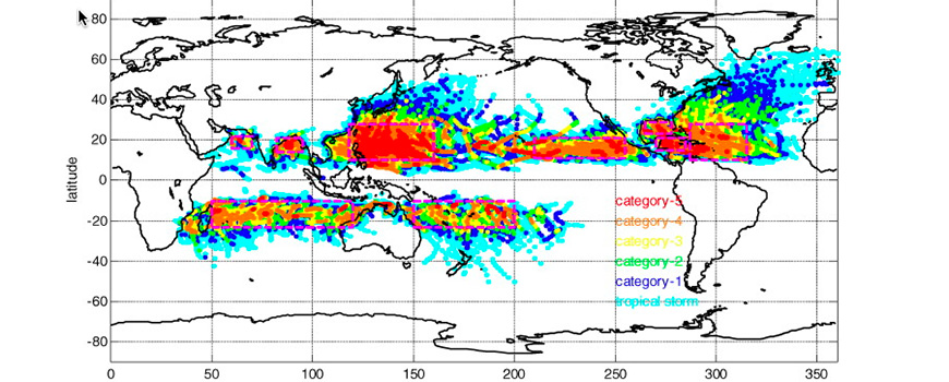 Global TC's locations color coded with Saffir–Simpson Scale from JTWC (1979–2013) and NHC (1979–2013).