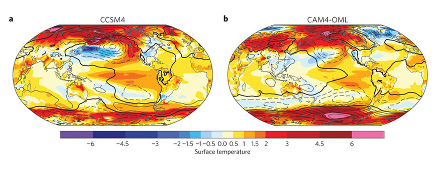 Anomalies of surface temperature and sea-level pressure
