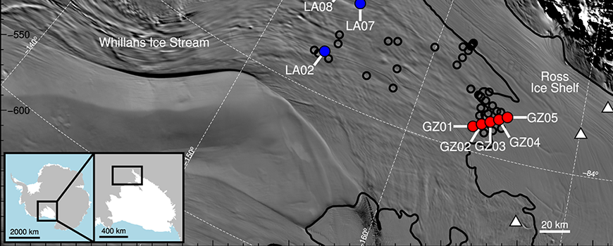 Map showing GPS sites on the lower confluence of Mercer and Whillans ice streams