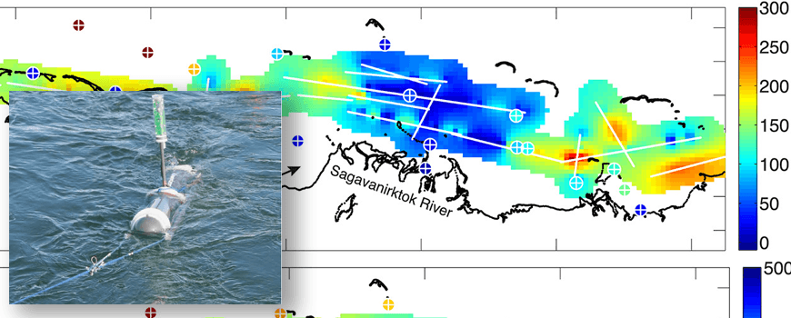 Image of porpoise device superimposed on permafrost map