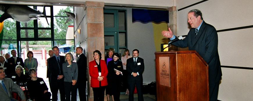 A man giving a speech.