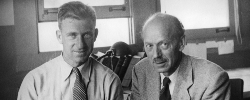 A young Walter Munk with mentor Harald Sverdrup. Photo: Scripps Institution of Oceanography Archives, UC San Diego Libraries.