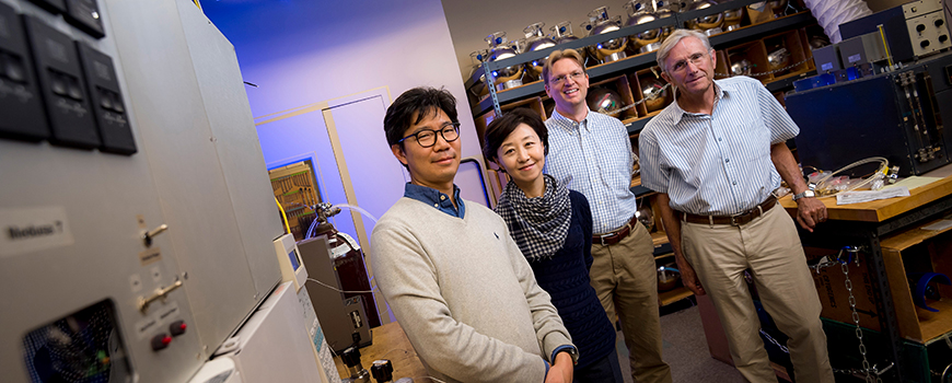 Lead author Sunyoung Park (second from left) and Scripps co-authors (l-r) Jooil Kim, Jens Mühle, Ray Weiss. Photo: Erik Jepsen