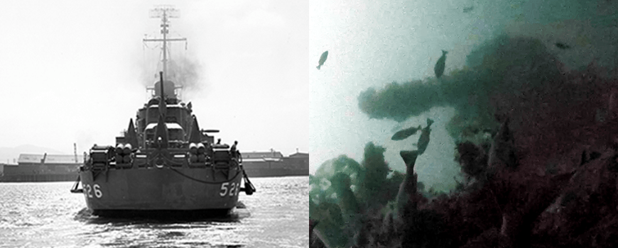 National Archive photo of USS Abner Read at left; Project Recover image of gun turret from stern sunk Aug. 18, 1943, at right.