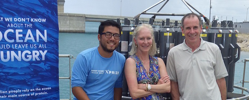 From left, Yui Takeshita of Scripps, Wendy Schmidt, and David Murphy of Sea-Bird Scientific
