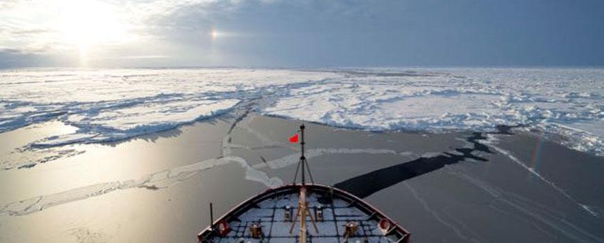 Bow of US Coast Guard Cutter Healy at the North Pole. Photo: Cory Mendenhall, US Coast Guard.