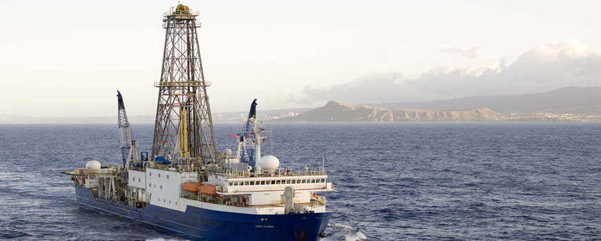 JOIDES Resolution leaving port in Honolulu for Expedition 321 in 2009. Photo: William Crawford, IODP/TAMU.
