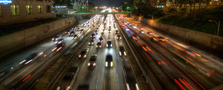 Downtown Los Angeles traffic at night. Photo: Neil Kremer