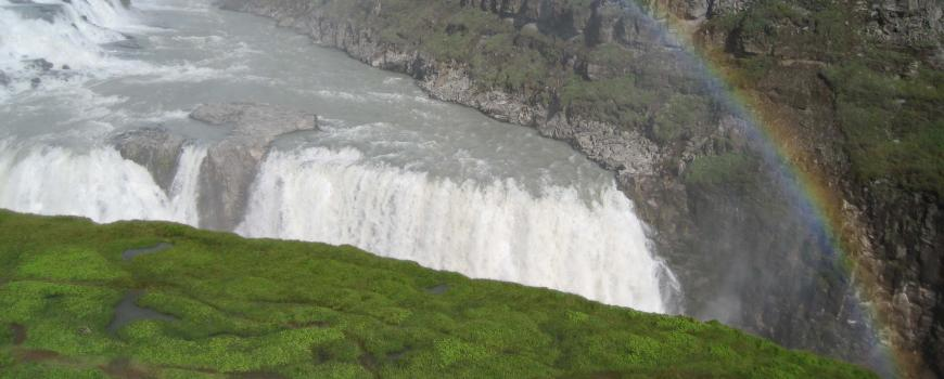Iceland is home to many natural wonders including the Gulfoss waterfall, located in the southern lowlands region.
