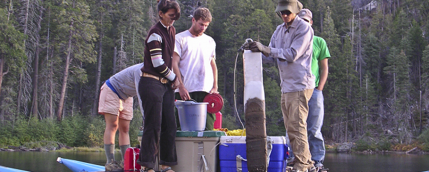 The Scripps research team used a raft to collect frozen sediment cores from Swamp Lake