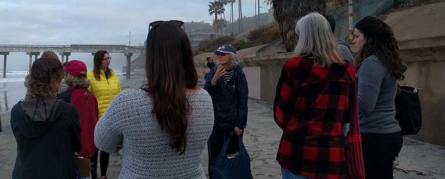 Linda Chilton of USC Sea Grant leads citizen scientists on a tour of La Jolla Shores Jan. 20, 2016