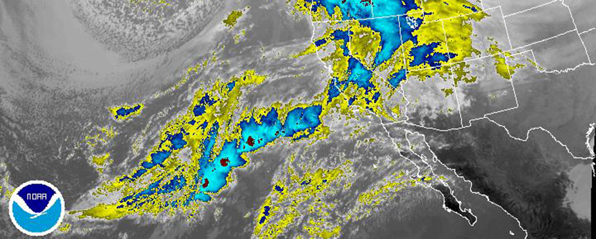 NOAA GOES satellite imagery of atmospheric water vapor reaching California Jan. 7