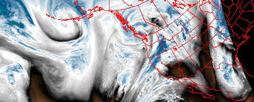 GOES satellite image of water vapor in atmospheric river over western U.S. today