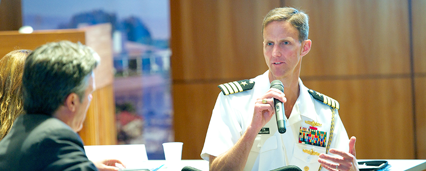 Rear Adm. Tim Gallaudet addresses the audience during a sea-level rise conference at Scripps, May 2014. Photo: Bob Ross