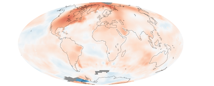 Long-term global warming trend. Image: NASA