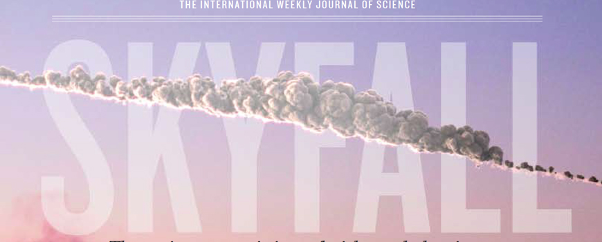 Nature magazine cover of Chelyabinsk meteor.