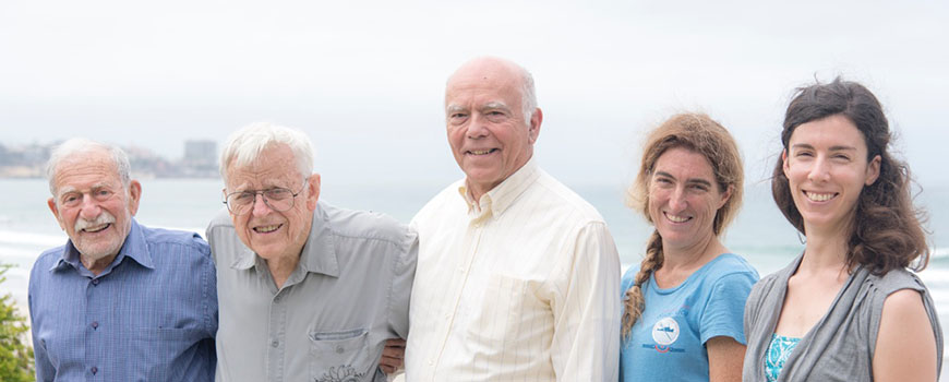 From left, ocean scientists Walter Munk, Chip Cox, Michael Gregg, Jennifer Mackinnon and Caitlin Whalen