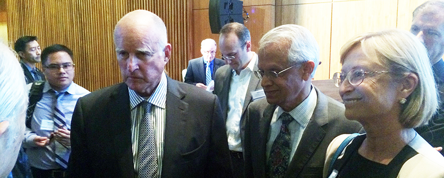 Calif. Gov. Jerry Brown with Scripps Oceanography climate scientist V. Ramanathan at UC Carbon Neutrality Summit, Oct. 27
