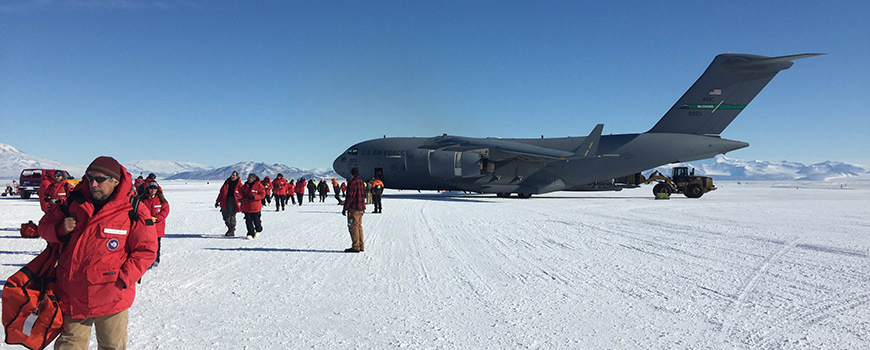Scientists arrive at McMurdo Station in Antarctica to study ice shelf thickness.