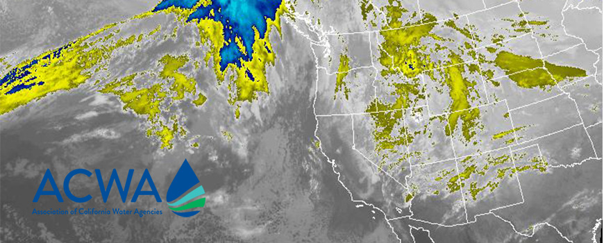 GOES satellite image of water vapor over the western United States courtesy of NOAA
