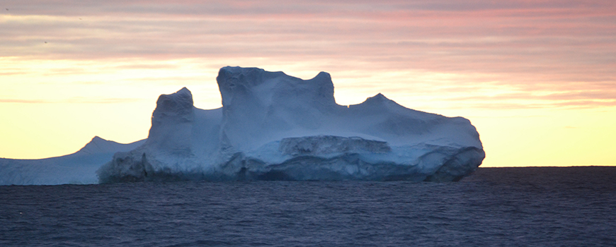 Anarctic iceberg at sunrise. Photo: Alison Macdonald/WHOI