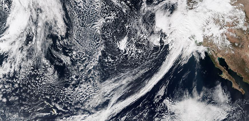 Atmospheric river hits California. Photo: Jesse Allen, NASA Earth Observatory/ VIIRS satellite.