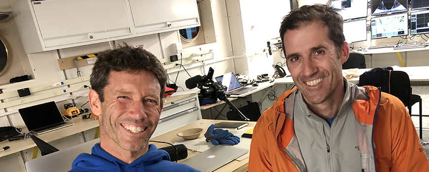 Scientists Matthew Alford (left) and Thomas Peacock at sea during study of potential seabed mining effects, February 2018