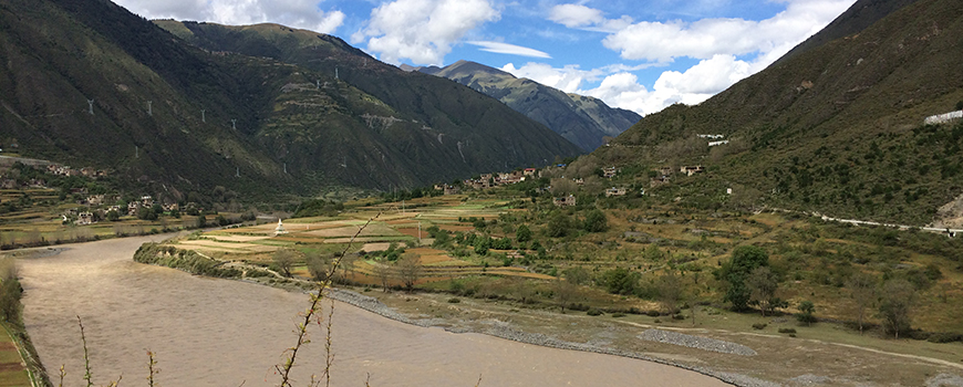 Fields in a valley in high-altitude eastern Tibet. Photo: Jade d'Alpoim Guedes.