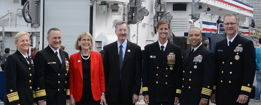 Scripps Director Margaret Leinen is flanked by Navy officials during commissioning of R/V Sally Ride, Oct. 28, 2016