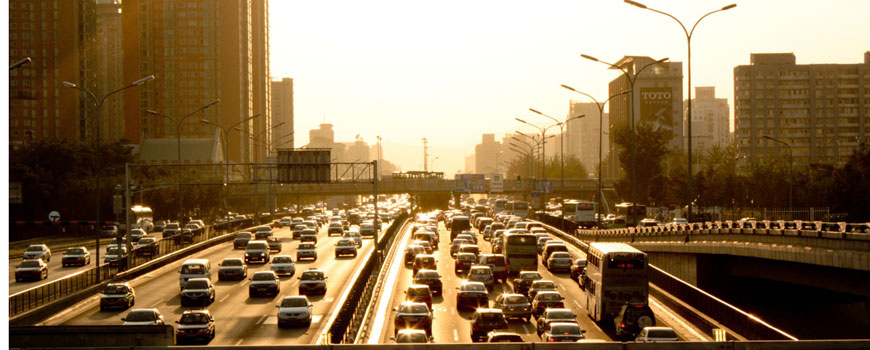 Beijing traffic at sunset. Photo: Buzrael