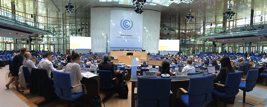 Negotiators at a 2015 UNFCCC meeting in Bonn, Germany