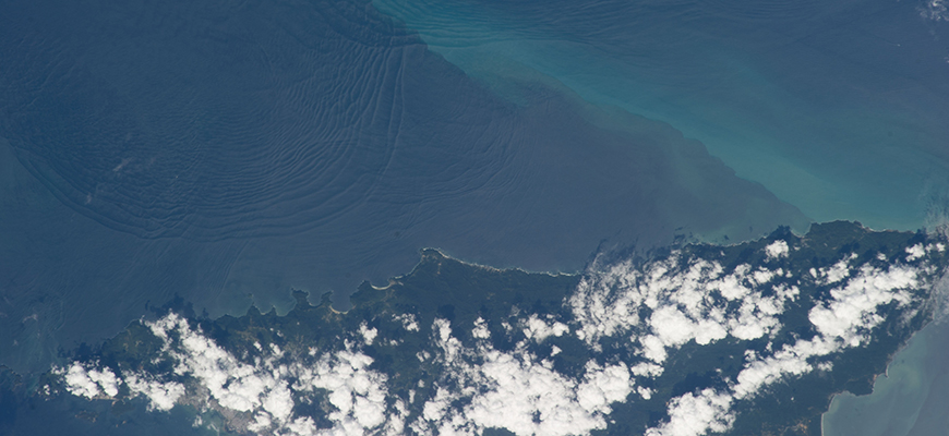 View of internal waves off northern coast of Trinidad seen from International Space Station. Photo: NASA