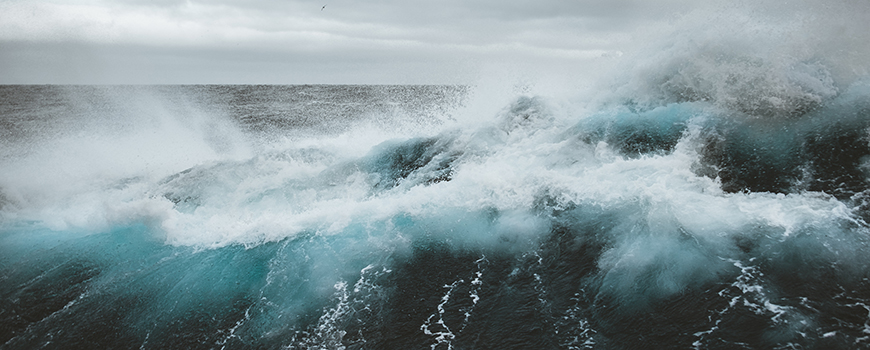 Rough seas during an April 2018 Southern Ocean transit. Photo: B. Jack Pan