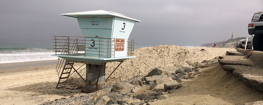 Torrey Pines State Beach experienced some of the most extensive erosion in San Diego County during El Niño