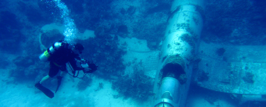 Scripps engineer Shannon Scott investigates wreckage off Pacific Island  nation of Palau