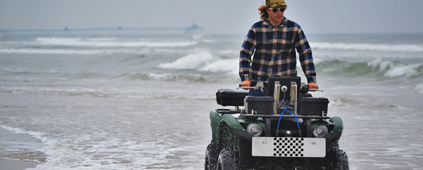 Beach surveys via ATV. Photo: Daron Case