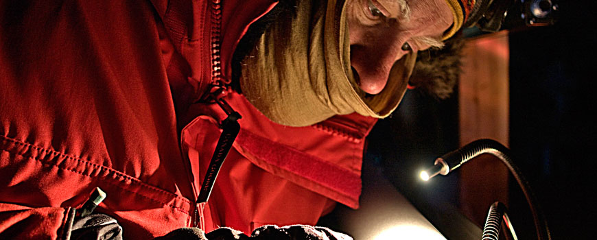Examining ice cores during WAIS Divide project. Photo: Gifford Wong/Dartmouth College