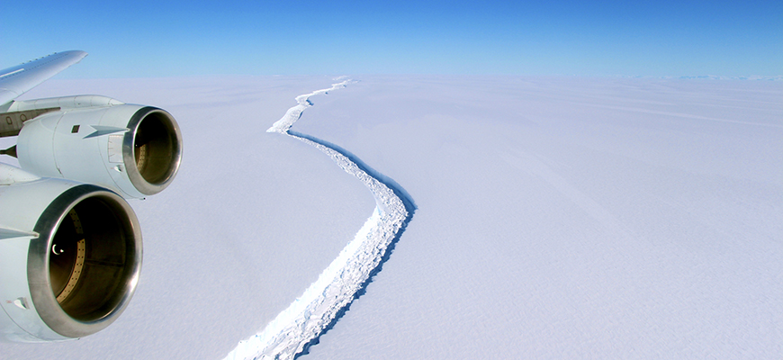 Larsen C crack in 2016. Photo: John Sonntag/NASA
