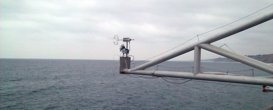 Anemometer and air sample collection tube at the tip of Scripps Pier