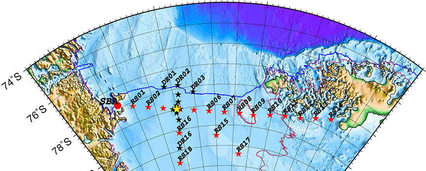 Map of Ross Ice Shelf seismic array