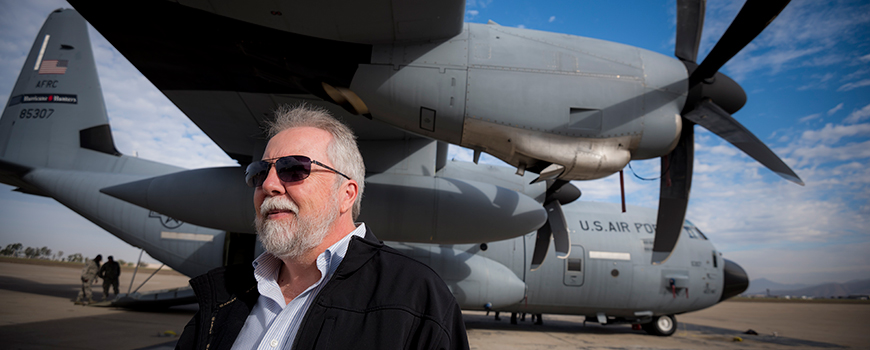 CW3E Director Marty Ralph with WC-130J aircraft at San Diego's Brown Field. Photo: Erik Jepsen