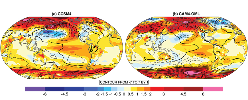 Simulations of surface temperature anomalies. Image: Nature Geoscience