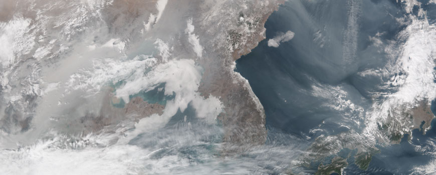 Pollution from China over Japan, Feb. 25, 2014. NASA Earth Observatory image by Jesse Allen