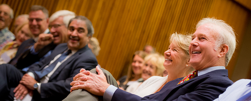Richard and Carol Dean Hertzberg at an announcement of their $5 million gift to UC San Diego, Aug. 24, 2015