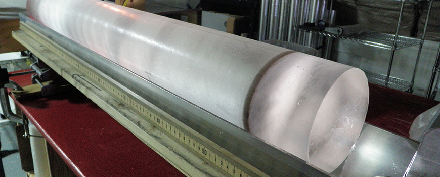 A one-meter long section of ice core. Photo: Heidi Roop